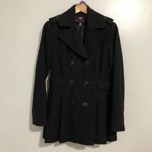{Miss Sixty} Wool Black Double Breasted Peacoat